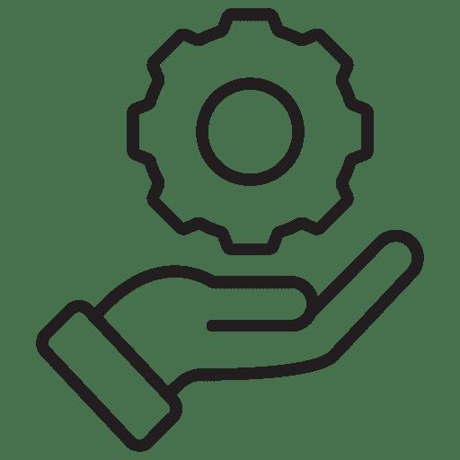 A hand underneath holding a gear wheel