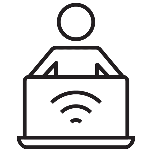 person sitting behind a computer with wifi image