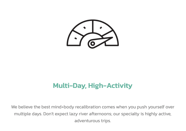 A picture of what Recal stands for in the form of an icon with dial all the way up to indicate high-activity in adventure travel and tours.